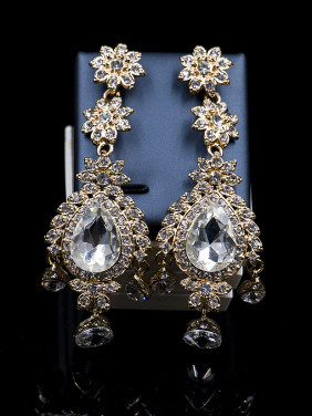 Exaggerated Cubic Glass Rhinestones Two Pieces Jewelry Set