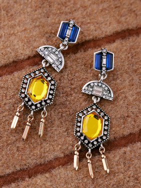 Noble Colorful Stones Women Drop Chandelier earring