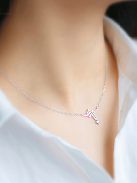 S925  Silver Heart ECG Shape Personality Necklace