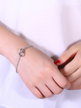 925 Silver Heart Shaped Zircon Bracelet