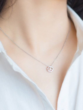 S925 Silver Anti War Symbol Shape Handsome Necklace