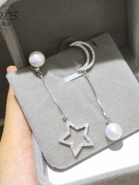 S925 Silver Shelll Pearl Star Moon Asymmetric drop Earrings
