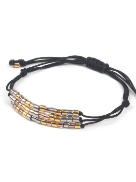 Three Colors Smooth Beads Rope Bracelet