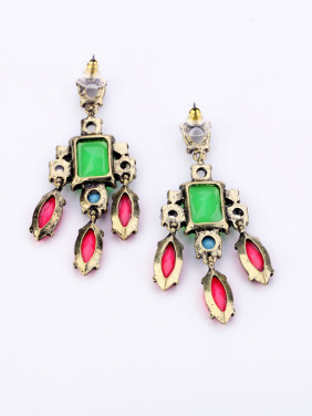 Color Artificial Stones Alloy Drop Earrings