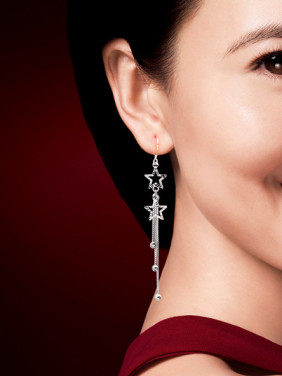 S925 silver sweet star beads tassel drop earrings