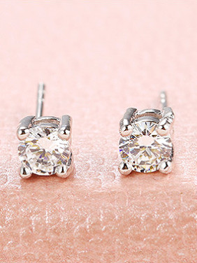 Copper Alloy White Gold Plated Simple style Zircon Two Pieces Jewelry Set