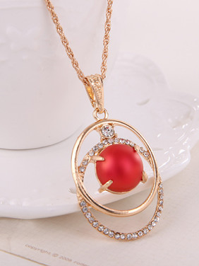 Alloy Imitation-gold Plated Fashion Artificial Stones Two Pieces Jewelry Set