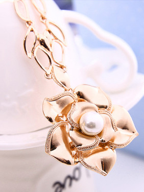 Alloy Rose Gold Plated Fashion Artificial Stones Flower Two Pieces Jewelry Set