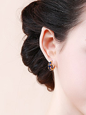 Copper Alloy 24K Gold Plated Fashion Artificial Zircon Clip Earrings