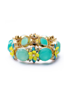 Gold Plated Color Stones Bangle