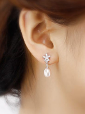 Fashion Freshwater Pearl Zircon Earrings