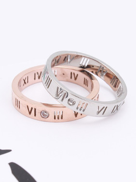 Retro Hollow Rome Numerals Rhinestones Lovers Rings