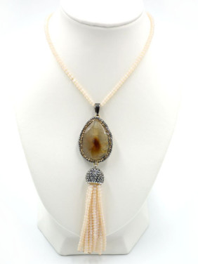 Natural Crystals Agate stone Sweater Beads Chain