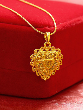 Copper Alloy Gold Plated Retro style Heart-shaped Pendant