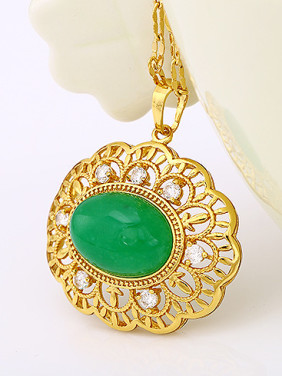 Copper Alloy 24K Gold Plated Vintage style Artificial Gemstone Necklace