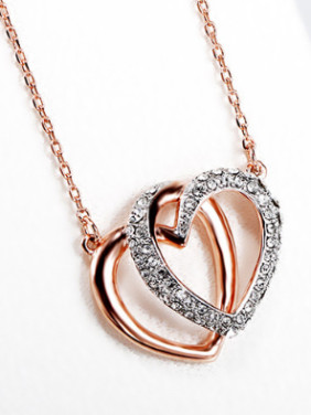 Fashion Double Heart shapes Zirconias Necklace