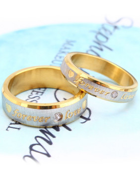 Gold Monogram Rhinestones Lovers Rings