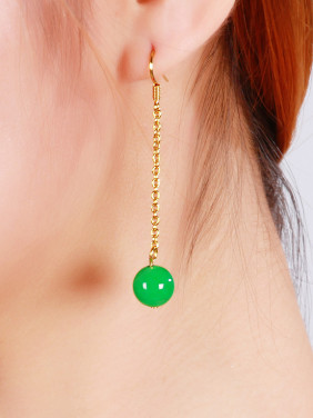 Copper Alloy Gold Plated Classical Jade Drop Earrings
