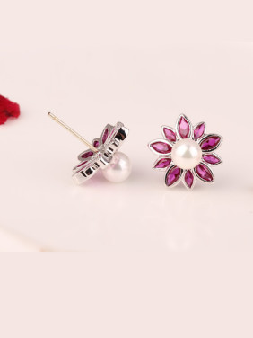 Sterling Silver Red Corundum Pearl Hypoallergenic stud Earring