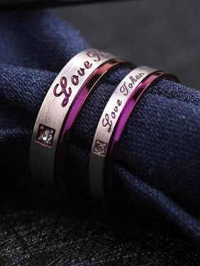 Fashion Monogram Purple Lovers Rings