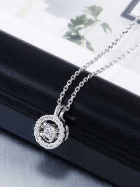 Simple Cubic Zircon Round Necklace