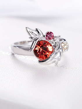 Leaf-shaped Crystal Ring