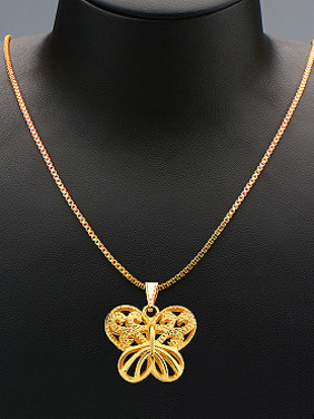 18K Gold Plated Hollow Butterfly Two Pieces Jewelry Set