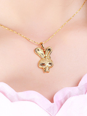 Copper Alloy 24K Gold Plated Simple style Bunny Pendant