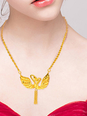 Women Fresh 18K Gold Plated Double Swan Necklace
