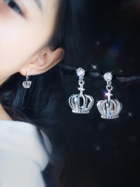 S925 silver sweet small crown drop earrings and necklace