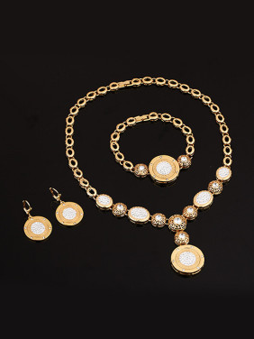 Alloy Imitation-gold Plated Vintage style Rhinestones Round Four Pieces Jewelry Set