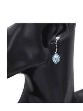 Copper Alloy White Gold Plated Fashion Diamond Gemstone Earrings
