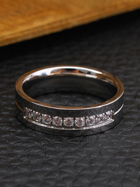 Fashion Rhinestones Smooth Lovers Rings