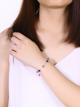 925 Silver Colorful Zircon Bracelet