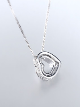 Simple Hollow Heart shapes Rhinestones Necklace