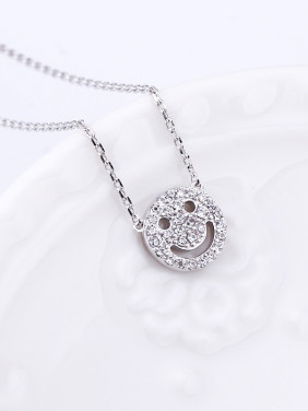 Simple Smiling Face Cubic Zircon Necklace