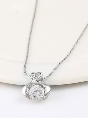 Copper Alloy White Gold Plated Fashion Zircon Necklace