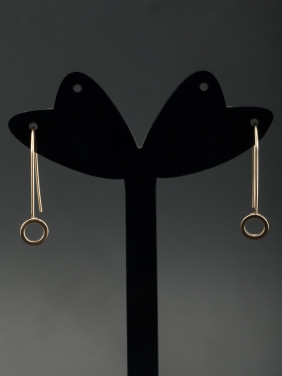 Round Gold Plated Gold Drop Earring