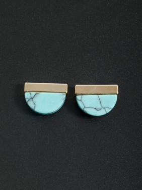 The new Gold Plated Turquoise Studs Earring with Green