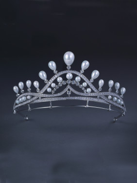 White color Platinum Plated Pearl Wedding Crown