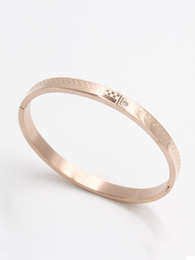 Stainless steel  Zircon Rose Bangle  59mmx50mm