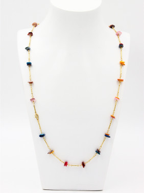Mother's Initial Multi-Color Chain with Personalized Stone
