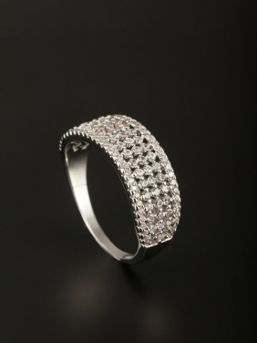 New design Platinum Plated Copper Zircon Ring in White color