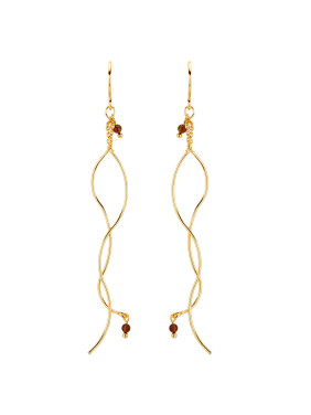 Gold Drop Earring with Gold Plated Copper Garnet
