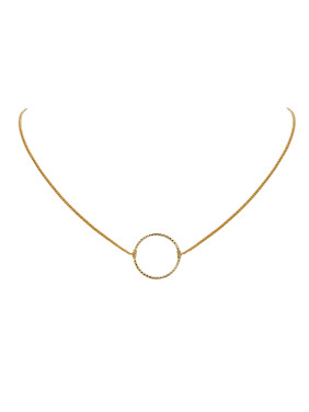 Fashion Gold Plated Copper Round Necklac