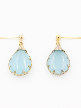 color Gold Plated Face Aquamarine Drop Earring