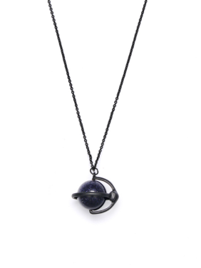 Custom Black Round Necklace with Gun Color plated Zinc Alloy