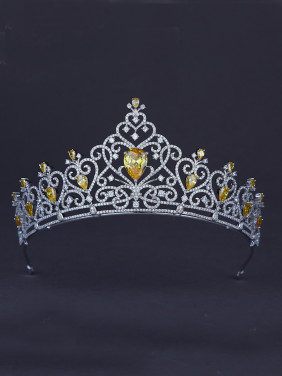 The new Platinum Plated Zircon Heart Wedding Crown with Yellow