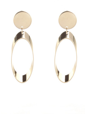 Gold color Gold Plated Zinc Alloy Round Drop Earring