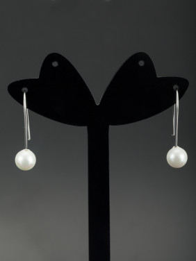 Mother's Initial White Drop Earring with Hook Pearl